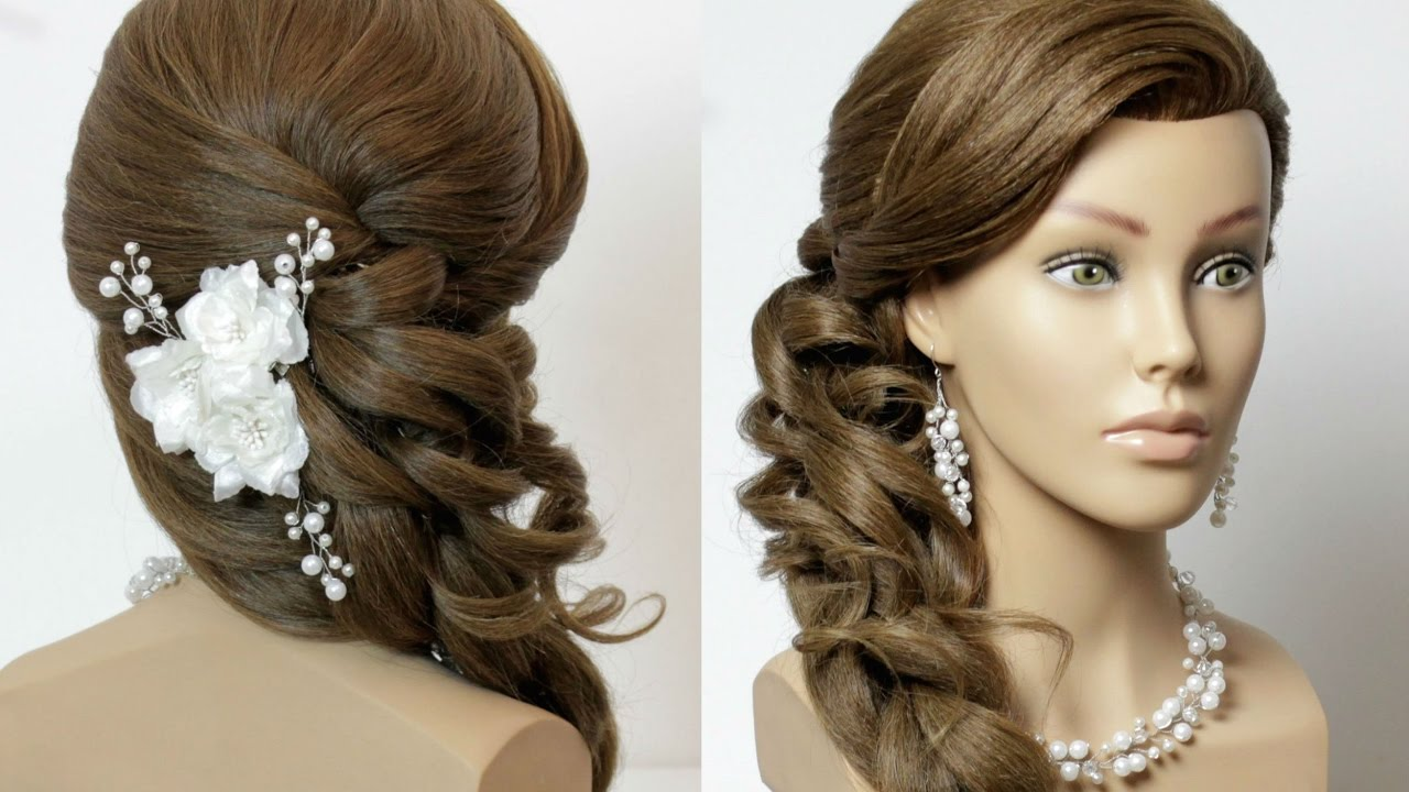 prom bridal hairstyle for long hair with curls. tutorial