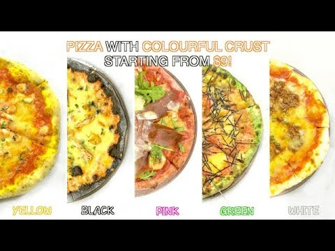 Pink, Black, Yellow, Green & White Pizza?
