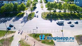 Чудаки на дорогах Кингисеппа. Продолжение ДТП. Видео момента столкновения с веб-камеры KINGISEPP.RU