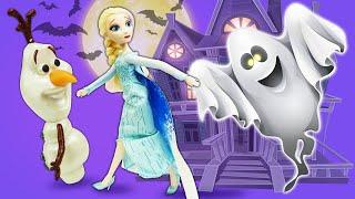 Куклы Эльза и Анна Холодное сердце и сундук с привидением. Видео для девочек про ХЭЛЛОУИН