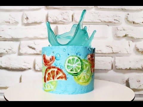 Торт ВСПЛЕСК! Рисунок на торте. Карамельная ваза