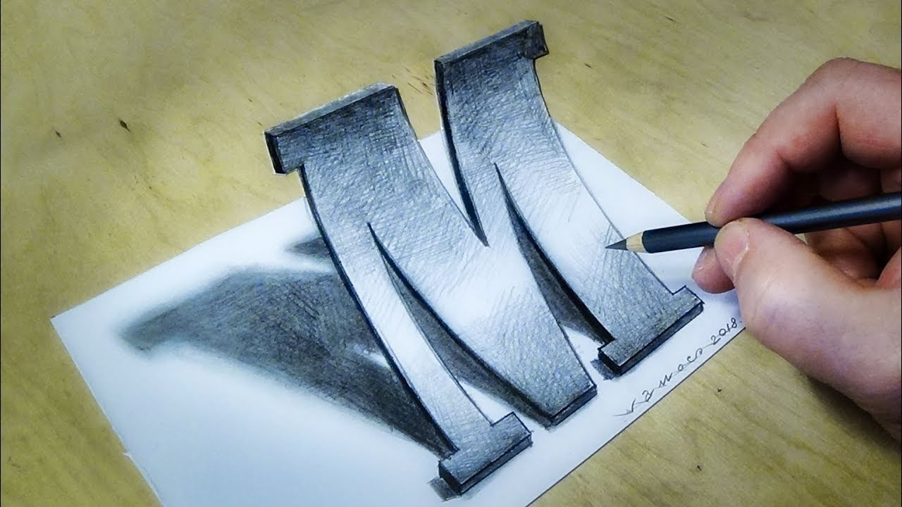 ONLY WITH ONE PENCIL - How to Draw 3D Letter M in Marlboro Font