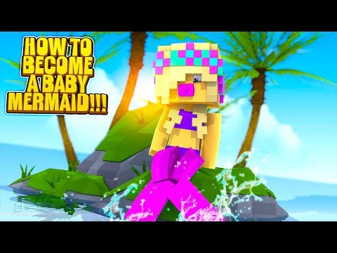 Minecraft HOW TO BECOME A... BABY MERMAID!!!