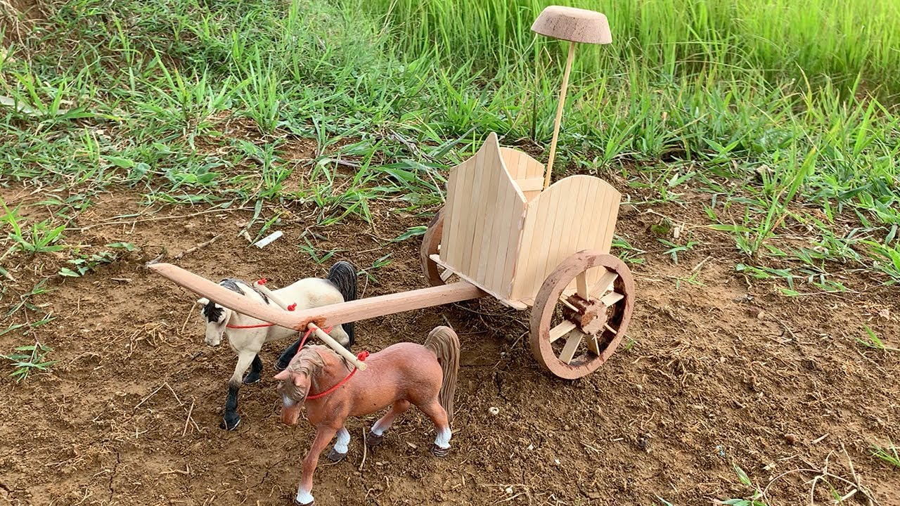 DIY Woodworking - Homemade Wooden Army Horse Cart