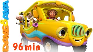 The Wheels on the Bus - Animal Sounds Song | Nursery Rhymes Compilation from Dave and Ava