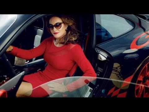 Caitlyn Jenner In Red Dress In Porsche