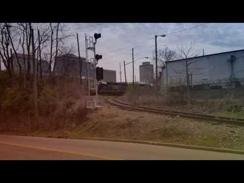 The Cumberland River CSX Railroad Swing bridge in Nashville Tennessee.