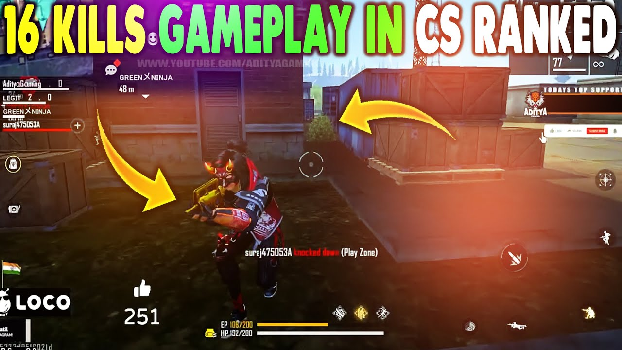 16 KILLS GAMEPLAY IN RANKED CLASH SQUAD - GARENA FREE FIRE