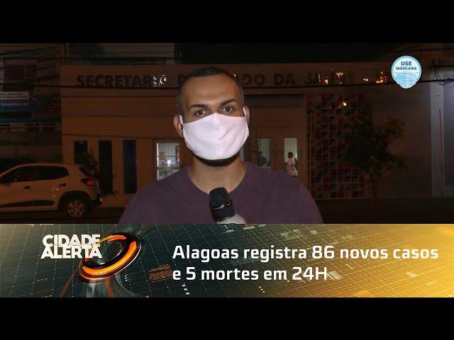 Coronavírus: Alagoas registra 86 novos casos e 5 mortes em 24h