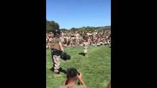 Female Marine Vs Male Marine in a round of pugile sticks.