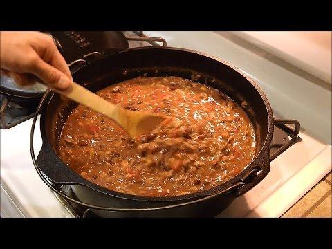 Homemade Chili In Lodge Dutch Oven