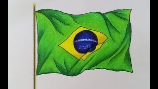 How to draw National Flag of Brazil step by step (easy drawing)