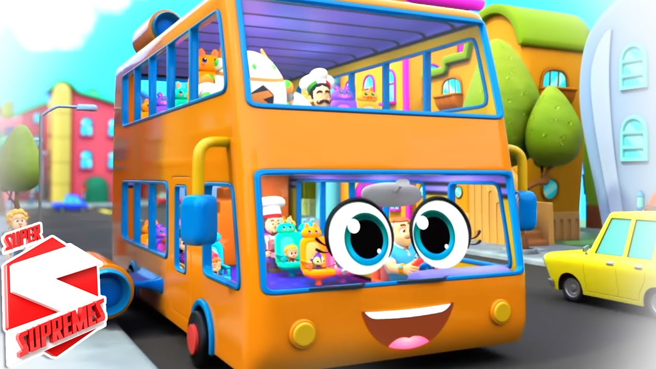 The Wheels On The Bus | School Bus Song | Nursery Rhymes and Baby Songs with Super Supremes