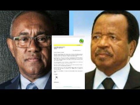 Voici la lettre de AHMAD Ahmad president de la CAF à S.E Paul Biya president  du Cameroun