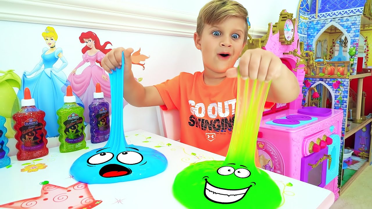 Diana and Roma Learn to share toys. Funny stories about slime