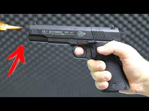 Review der Colt Government 1911 Co2 Waffe - Testschießen 3,5 Joule