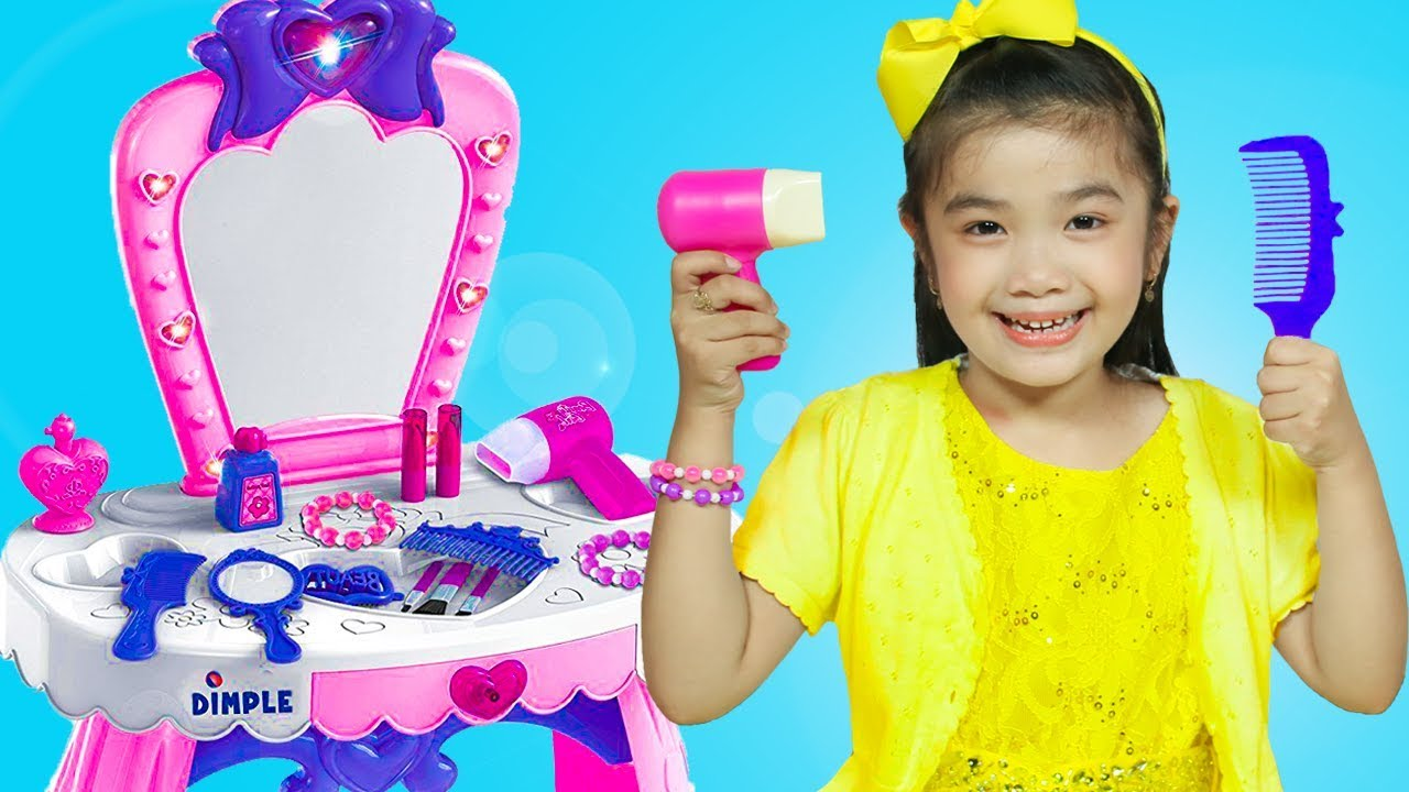 hana pretend play with makeup toys and cute vanity table for girls