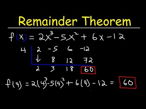 Remainder Theorem And Synthetic Division Of Polynomials