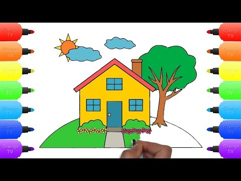 Learn Drawing House for Kids - Teach Coloring House Tree Sun Cloud and Flower