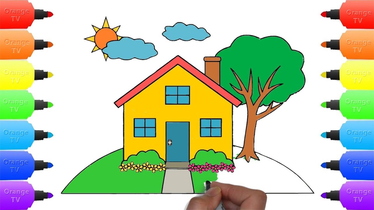 how to draw country house for kids drawing coloring book house