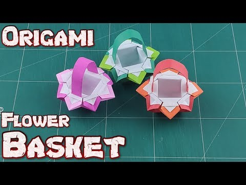 3d origami flower basket tutorial - YouTube | 360x480
