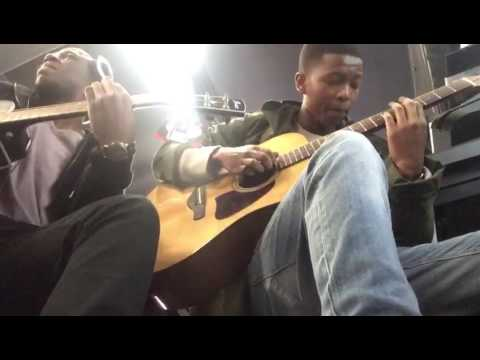 Jam session at Toms music store. One of the workers joined us for a freestyle