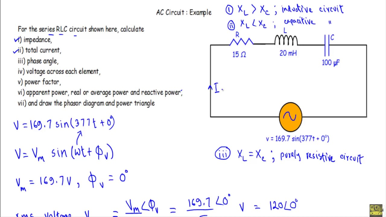 ac circuit example 4 series rlc circuit [ 1280 x 720 Pixel ]