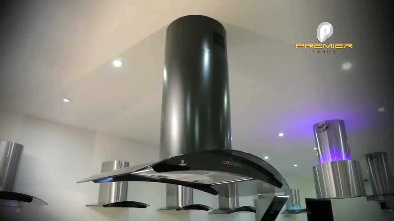100cm black island cooker hood with leds