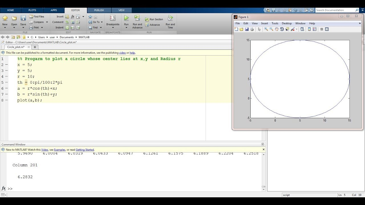 How to plot Circle in Matlab