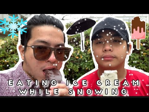 EATING ICE CREAM WHILE SNOWING. VLOG#3