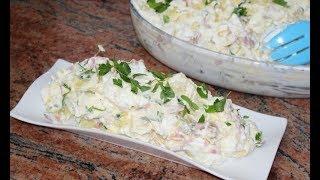 Яйчено картофена салата с чеснов сос