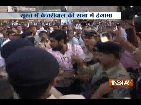 Arvind Kejriwal again shown black flags in rally in Surat