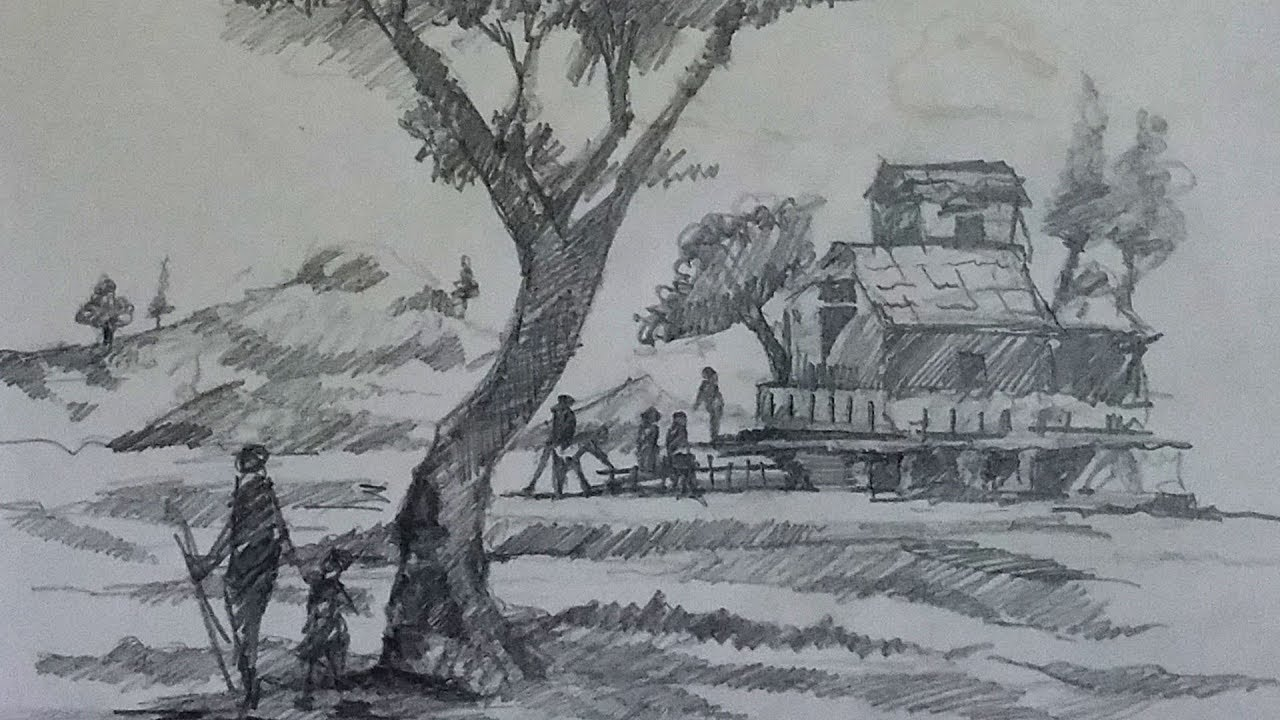 Pencil sketch on paper how to draw landscape using for Easy landscape drawings step by step