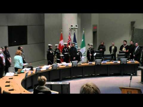 RCSCC FALKLAND BAND   does National Anthem at Ottawa City Hall