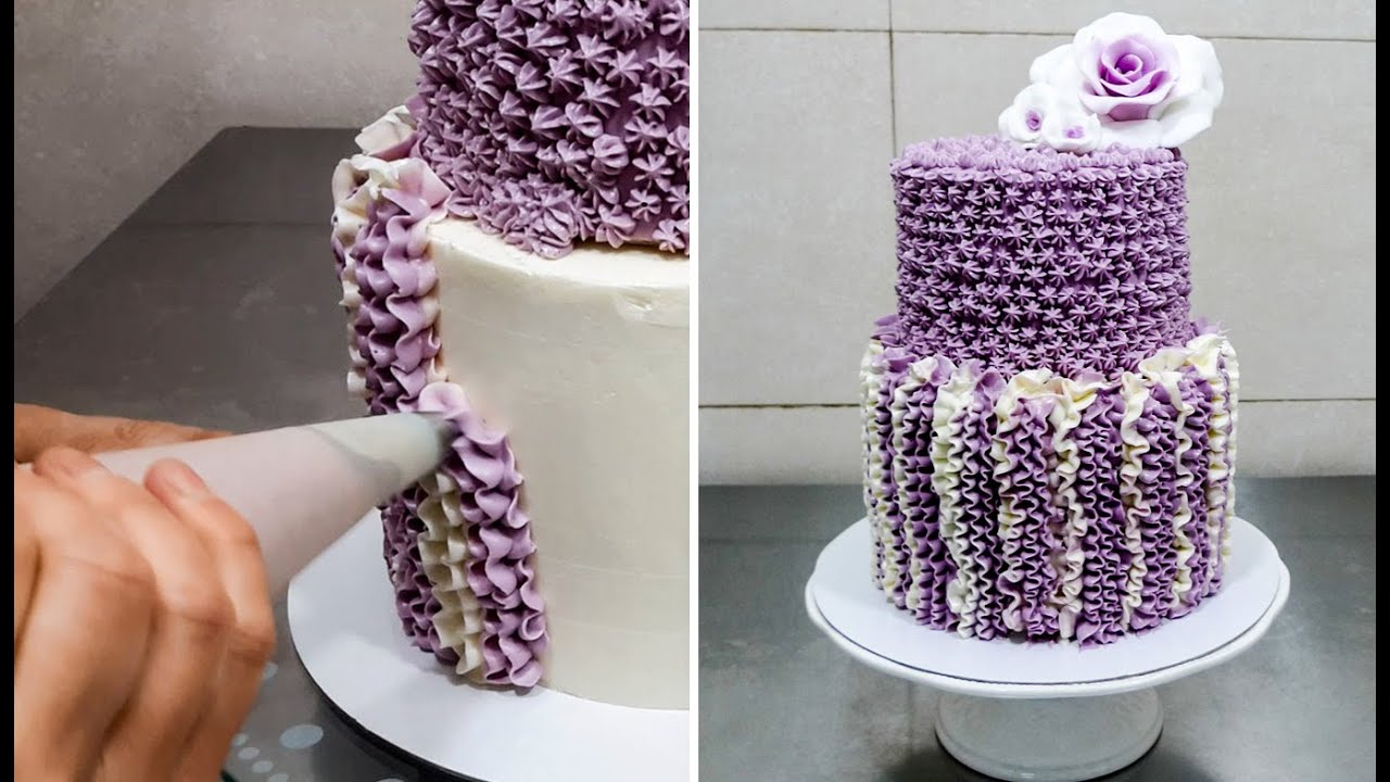 Easy Cake Icing Patterns: CROCHET Buttercream Cake Technique By CakesStepbyStep