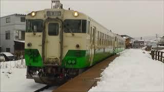 キハ40系 只見線 七日町駅到着~発車  2018.01.23