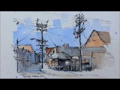 Pen and Wash Watercolor demonstration. Street Sketch of Kensington Market. Just 2 colors