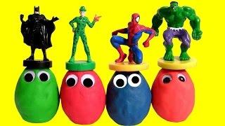 play doh surprise eggs googly eyes superheroes batman hulk spiderman ojos saltones huevos sorpresa
