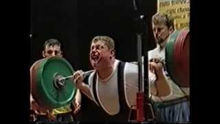 "Zydrunas Savickas (""Big Z"") at his first international powerlifting competition"