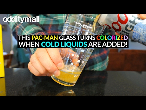 Pac-Man Pint Glass Turns Colorized With Cold Liquids