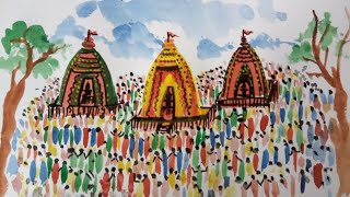 Rath Yatra Drawing || The Chariot Festival Of India || Watercolour Painting Tutorial