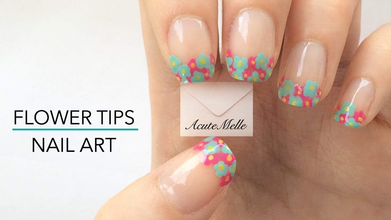 Flower French Tip Nail Art - YouTube