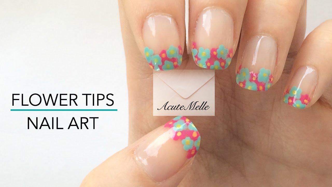 Flower French Tip Nail Art - YouTube