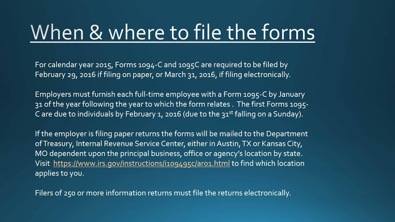 Reporting by Employers on Form 1094-C and 1095-C - YouTube