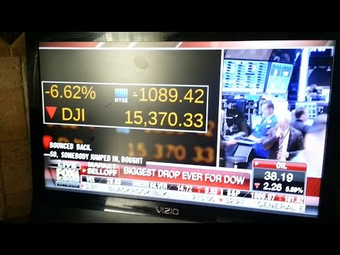 DOW JONES DOWN -1089.4 IN OPENING MINUTES. BIGGEST ONE DAY DROP EVER!!!