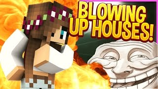 NUKING HOUSES! (Minecraft Trolling)