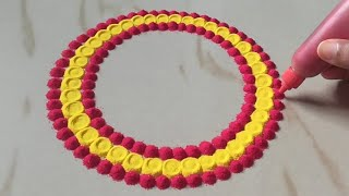 Easy & Big Saraswati Puja Laxmi Pooja Rangoli by Sangeeta