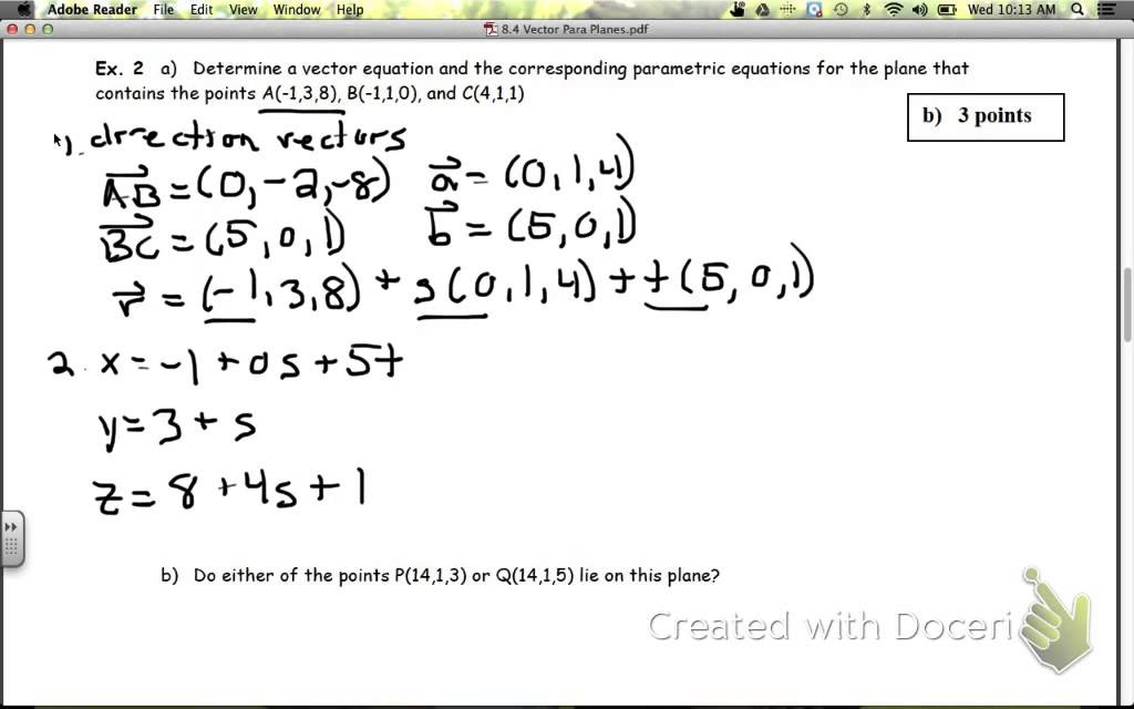 8.4 Vector & Parametric Equations of a Plane - YouTube