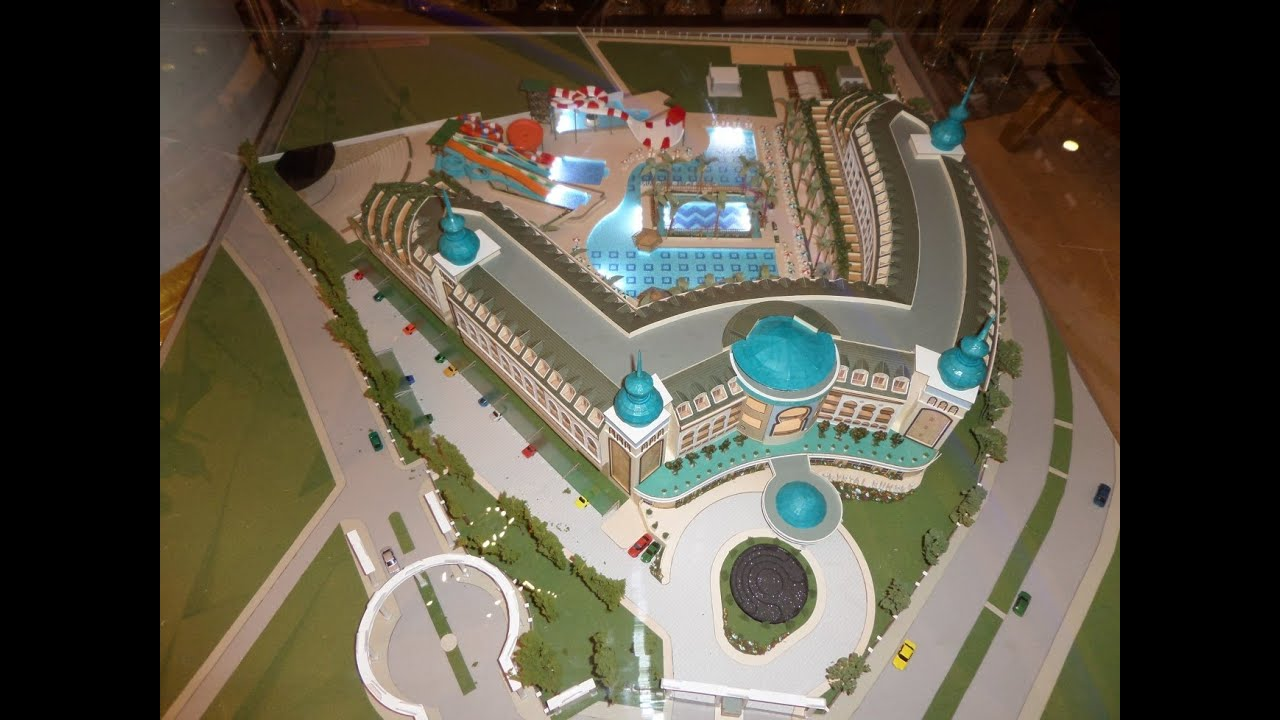 The hotel model in a lobby crystal sunset luxury resort spa side turkey макет отеля в лобби