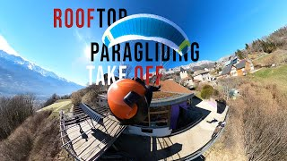 PARAGLIDER TAKES OFF FROM ROOFTOP - GOPRO MAX